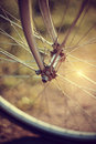 Forward wheel of the bicycle with bokeh Royalty Free Stock Photo