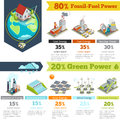Fossil-fuel power and renewable energy generation infographics Royalty Free Stock Photo