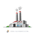 Fossil fuel power station isolated on white background in cartoon style Royalty Free Stock Photos