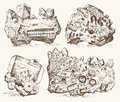 Fossilized plants, stones and minerals, crystals, prehistoric animals, archeology or paleontology. fragment fossils Royalty Free Stock Photo