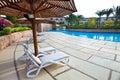 Foto de la piscina en hotel. Fotos de archivo libres de regalías