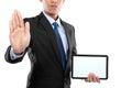 Foto de um homem de negócios que mostra o monitor vazio do pc da tabuleta Foto de Stock Royalty Free