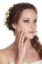 Foto del tiro del estudio del retrato de la mujer de la novia Imagen de archivo