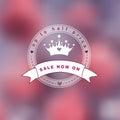 Foto obscura cor de rosa como um fundo com logotipo da princesa Imagens de Stock Royalty Free