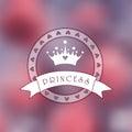 Foto obscura cor de rosa como um fundo com logotipo da princesa Fotografia de Stock