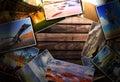 Foto s op het houten bureau Royalty-vrije Stock Foto