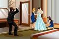 Fotograaf taking picture van een bruid Royalty-vrije Stock Afbeeldingen