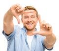Fotografia de quadro feliz do homem novo no fundo branco Imagens de Stock Royalty Free