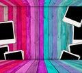 Fotos em branco no quarto cor-de-rosa e azul Fotos de Stock