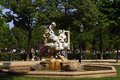 Fountain with angels marble basin a sculpture of cherubs in a public park Stock Images