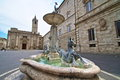 Fountain in ascoli piceno italy arringo square is the oldest monumental square of the city of near by fonzi palace arengo palace Royalty Free Stock Photography
