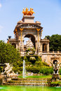 Fountain cascada at parc de la ciutadella in sunny day view of barcelona spain Stock Photo