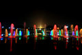 Fountain with colorful illuminations at night near the shwedagon pagoda Royalty Free Stock Photos