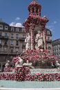 Fountain des jacobins during festival of roses lyon france may the world mondial takes place in lyon from may to october places Stock Image