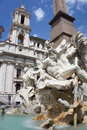 Fountain of the four rivers piazza navona rome italy in Stock Photo