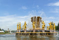 Fountain friendship of the people moscow in vdnh exhibition in Royalty Free Stock Images