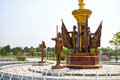 The fountain in front of Kumsusan Palace of the Sun. Pyongyang, DPRK - North Korea. Royalty Free Stock Photo