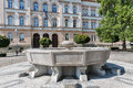Fountain in front of Maribor secondary school building, Slovenia Royalty Free Stock Photo