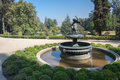 Fountain in garden santiago do chile a with a statue of an angel a a winery Royalty Free Stock Photo