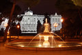 Fountain in gardens of sabatini and royal palace at dark night madrid spain Stock Photo