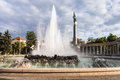 Fountain and heroes monument of the red army hochstrahlbrunnen soviet war memorial in vienna heldendenkmal der roten armee on Stock Images