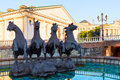 Fountain with horses on manezh square in moscow Royalty Free Stock Photography
