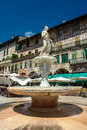 Fountain Madonna on Piazza delle Erbe in Verona Royalty Free Stock Photo