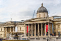 Fountain and the National Gallery on Trafalgar Square Royalty Free Stock Photo