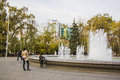 Fountain near arch of saint georgiy and bust of geogiy zhukov krasnaya street in krasnodar russia Stock Images