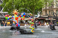 Fountain near Centre Pompidou with modern art in Paris Royalty Free Stock Photo