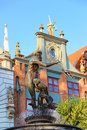 Fountain of the Neptune in Gdansk Royalty Free Stock Photo
