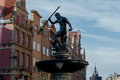 The fountain of neptune in gdansk god seas and oceans one symbols Stock Image