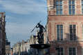 The fountain of neptune in gdansk and long market Stock Photo