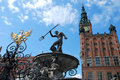 Fountain of the Neptune in Gdansk ( Poland ) Royalty Free Stock Photo