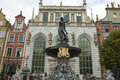 Fountain of neptune in gdansk poland the and facades the old houses the city was nearly total destroyed world war ii and Stock Images