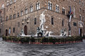 Fountain of Neptune in Piazza della Signoria Royalty Free Stock Photo
