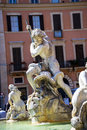 The Fountain of the Neptune on the Piazza Navona in Rome Italy Royalty Free Stock Photo