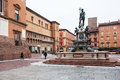 Fountain Neptune on square in Bologna city Royalty Free Stock Photo