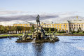 The fountain of neptune in the top park ensemble peterhof autumn Royalty Free Stock Photos