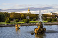 The fountain of neptune in the top park ensemble peterhof autumn Royalty Free Stock Images