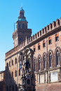 Fountain of Neptune and town hall in Bologna Stock Photo