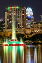 Fountain at night in Lake Eola Park Royalty Free Stock Photo