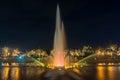 Fountain at night in Suan Luang Rama 9 Park  in Bangkok Royalty Free Stock Photo