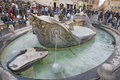 Fountain old boat by pietro bernini in rome italy november tourists relax the famous spanish steps between the piazza di Royalty Free Stock Photos
