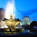 Fountain in Opera Square, Timisoara, Romania Royalty Free Stock Photo