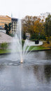 Fountain park in city waterworks riga architecture Royalty Free Stock Photo