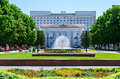 Fountain in park at Gomel Regional Library named after Lenin Royalty Free Stock Photo