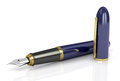 Fountain pen blue with gold Royalty Free Stock Photo