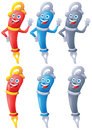 Fountain pen cartoon character set Royalty Free Stock Photo