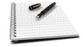 Fountain pen on note book Stock Image